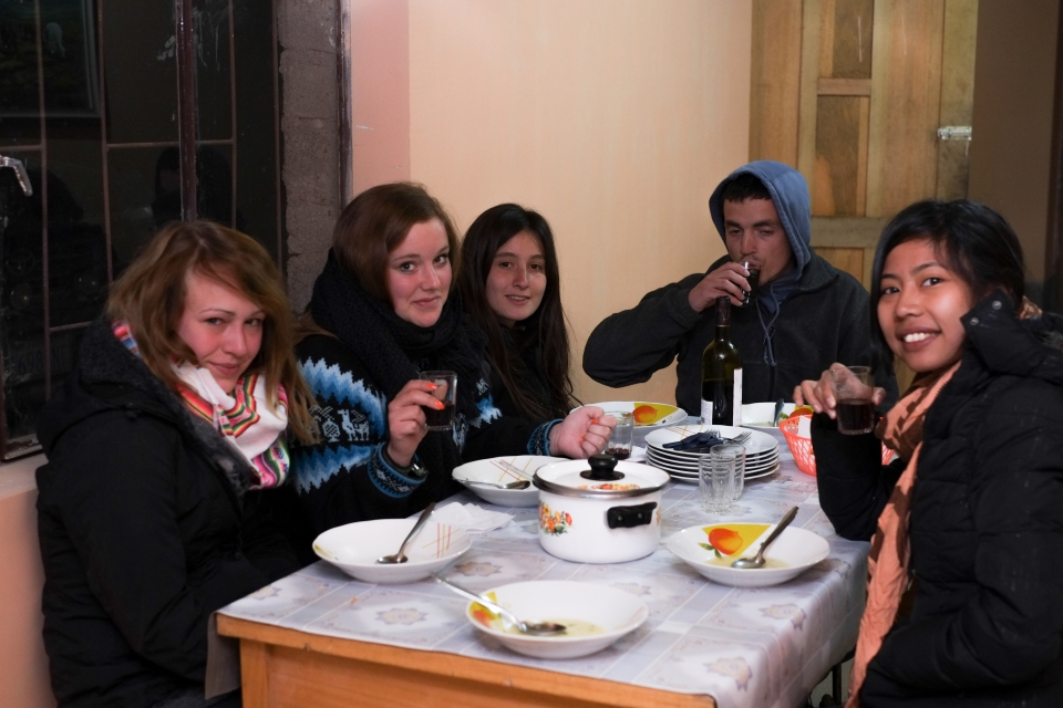 The gang for 3 days! This was a very cold dinner, below zero with no heating!