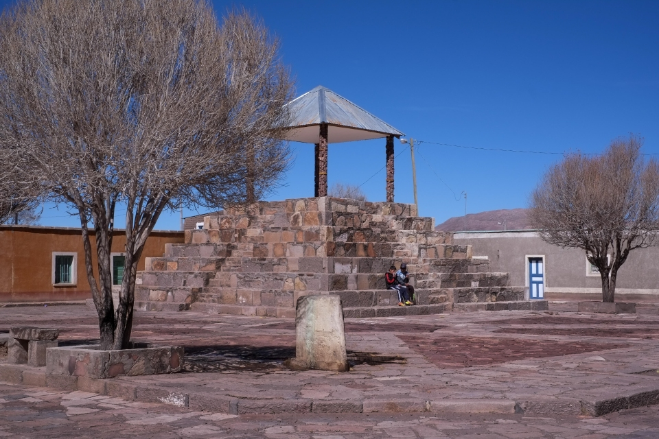 Small town square  in rural Bolivia