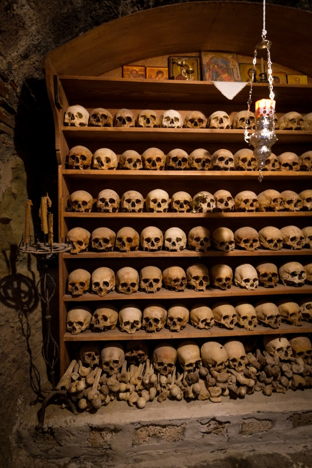 The skulls of monks at an Orthodox monastery in Meteora.