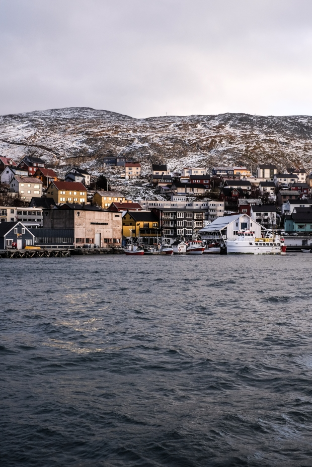The town of Honningsvåg, located in the Arctic Circle in full muted sunset glory.